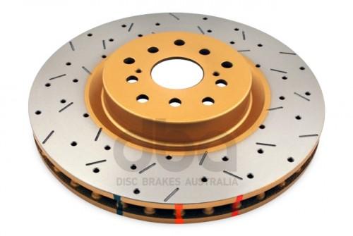 DBA - 4000 Series Rotor - Uni-Directional Cross Drilled / Slotted Rotor - 10 Stud Hole (5x100 & 5x114.3) - Subaru Impreza WRX STI - FRONT - 4654XS-10