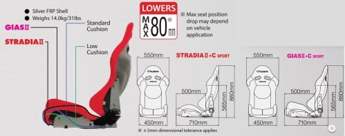 CUSCO x BRIDE - Low Max - GIAS II + C Sport - High Side Support - Reclining Bucket Seat - BRD-G32SCF